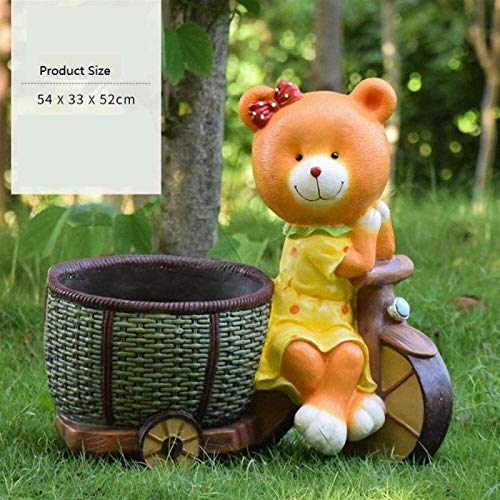 Garden Ornaments Outdoor Statues Bear Ornament Villa Courtyard Garden Decoration Outdoor Simulation Animal Decoration Cartoon Bear Flower Tank Garden Landscape Sculpture for Patio,Lawn,Yard Decor,Hous