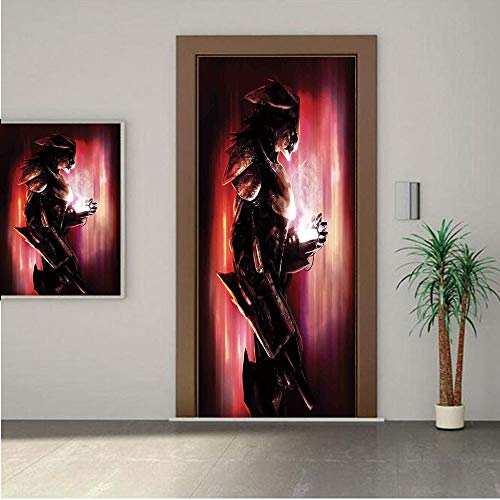 Ylljy00 Fantasy World Door Wall Mural Wallpaper Stickers,Bird Robot War Machine Soldier Science Fiction Technology Futuristic Artwork 28x80 Vinyl Removable Decals for Home Decoration