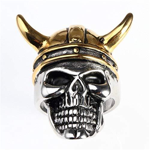 Anillo De Calavera del Diablo Cuernos De Gran Tamaño para Hombre Anillo De Acero De Titanio Joyería De Fiesta De Rock Gótico Punk,Oro,13
