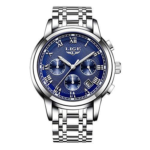 LIGE Reloj para Hombre Reloj Analógico de Cuarzo Deportivo De Acero Inoxidable Resistente al Agua Elegante Negocios Calendario Clásico Fecha Reloj para Hombre
