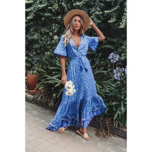YangJinShan El Encaje de impresión Vestido con Cuello en V de la Playa de Vacaciones con Cordones de la impresión Vestido (Color : Royal Blue, Size : XL)