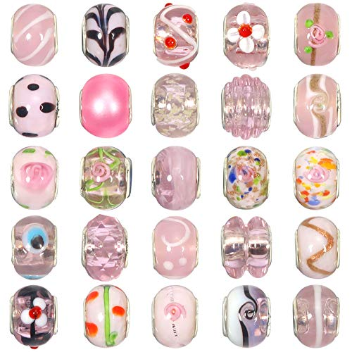 TOAOB 50pcs Light Pink Theme Big Hole Lampwork Beads Classic Glass Beads Fit European Snake Chain Charm Bracelets