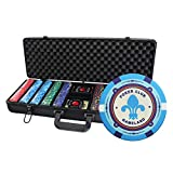 Ceramic Poker Chips Set for Texas Hold'em, 500 Premium Feel Chips with Custom Carrying Case(12g blank chips), 2 Decks Spill Proof Cards, Dealer and ALL-IN Button