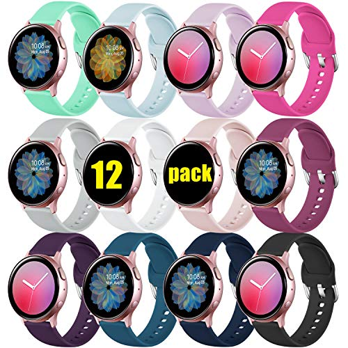 DGege Bands Compatible with Samsung Watch/Samsung Galaxy Watch Active/Active2 40mm/44mm, Replacement Strap Compatible with Samsung Galaxy Gear Sport, 12Pack, Small