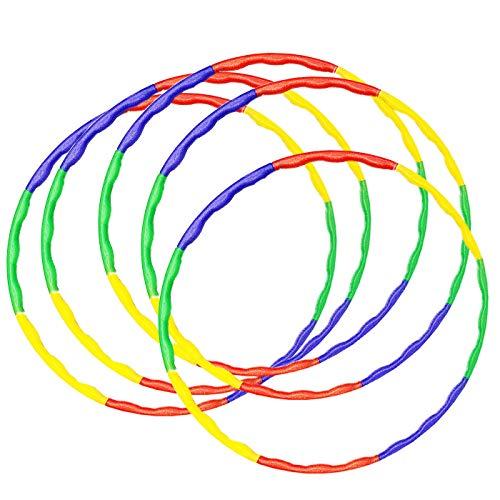 Solmar- Pack 5 Hula Hoop Desmontables de plastico 4 Colores 68 cm, Aro de Hula Hoop de arcoíris extraíble de 8 Secciones