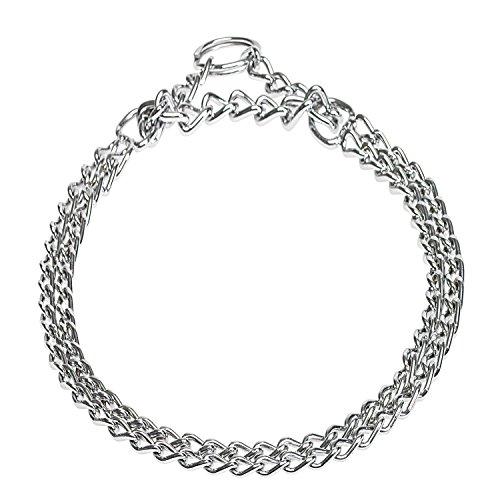 CHAPUIS SELLERIE SLA090 Collar para Perro Semi-estrangulador 2 Filas - Acero Cromado - Diámetro 2,5 mm - Largo 55 cm - Talla L