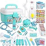 Anpro Kit Dottore Giocattolo per Bambini - 46 Pezzi Valigetta Dottore Bambini, Giocattoli Kit Infermiere Bambini, Giocare al Dottore Fai Finta di Giocare Dentista per Regali di Festa Blu