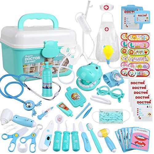 Anpro 46 kit de Médecin Jouets Déguisement de Docteur Rôle Jouets du Docteur Imitation avec Mallette Medecin Outils Médical pour Enfant Fille Garçon-Bleu