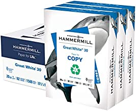 Hammermill Great White 30% Recycled 20lb Copy Paper, 8.5 x 11, 3 Ream Case, 1500 Sheets, Made in USA, Sustainably Sourced ...