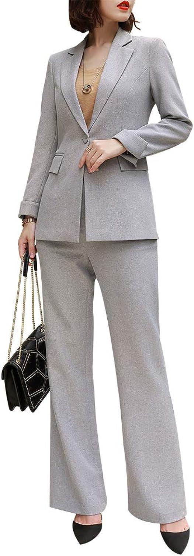 LISUEYNE Women Elegant Two Piece Blazer Suit Slim Fit Pant Suit Office Lady Blazer Set