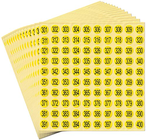 dealzEpic - Black Numbers on Yellow Stickers - 301 to 400 Round Self Adhesive Stickers | Inventory/Storage Organizing Stickers - Set of 15 Sheets
