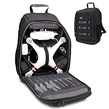 USA Gear FPV Drone Backpack Compatible with DJI Mavic Pro Phantom 4 3 Yuneec Breeze and RC Quadcopters - Custom Interior Thick Padded Protection Exterior Storage Straps and Waterproof Rain Cover