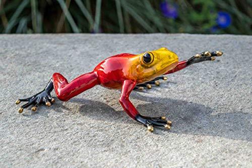 IDYL Escultura de bronce de rana roja   9 x 20 x 11 cm   Figura de animal de bronce hecha a mano   Escultura de jardín o estanque   Artesanía de alta calidad   Resistente a la intemperie