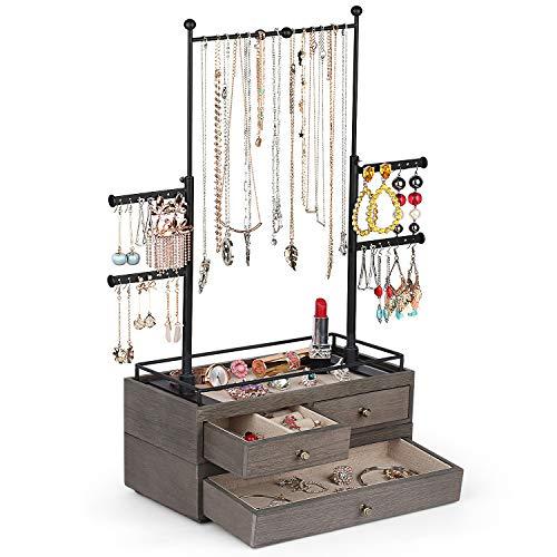 Organizador de joyas – Caja de almacenamiento de madera de 2 capas con soporte de árbol de joyería de 6 niveles, exhibición de joyas para collares, pulseras, pendientes, anillos (gris desgastado)