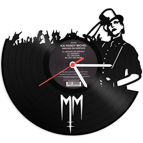 GRAVURZEILE Marilyn Manson Horloge Murale en Vinyle Horloge Murale en Forme de Montre, Vinyle, décoration Murale Vintage