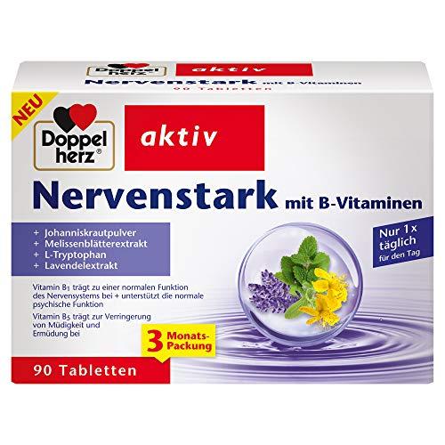 Doppelherz Nervenstark – Mit Vitamin B5 als Beitrag zur normalen geistigen Leistungsfähigkeit und zur Verringerung von Müdigkeit und Ermüdung – 90 Tabletten