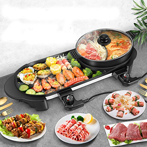 S SMAUTOP Electric Grill and Hot Pot Combo, Indoo Grill and Shabu , Large Capacity Multifunctional Non-Stick Pan with 5 Temperature Adjustments for Home Party Outdoor (Detachable)
