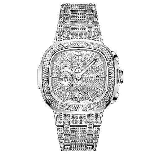 JBW Luxury Men's Heist J6380 20 Diamond Wrist Watch with Stainless Steel Bracelet, 47.5mm