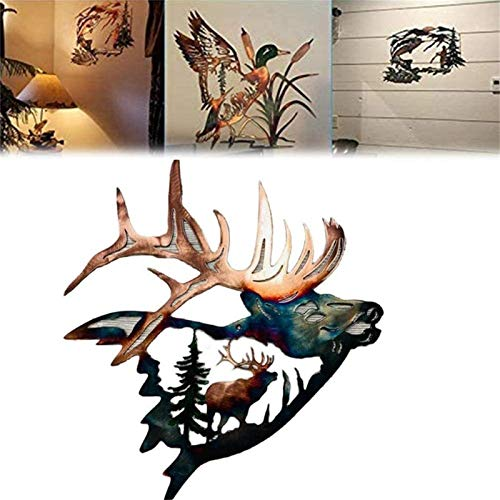 WENLIANG Metal Wall Art Solo Mallard Hunting & Trout Fishing Scene, Rustic Wall Decal Sticker, Wall Hanging Sculptures Decor for Indoor Outdoor Home Office Garden Ornaments Fawn