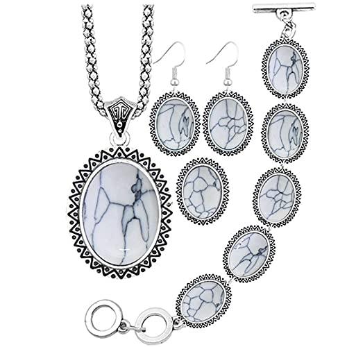 CLEARNICE Conjuntos de Joyas de Turquesa sintética Ovalada, Collar, Pulsera, Pendientes, Anillo para Mujer, joyería chapada en Plata Antigua, Collar de Longitud 48Cm