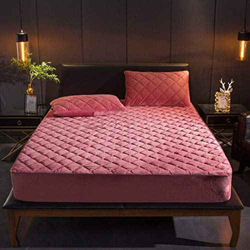 Plush Thicken Quilted Mattress Cover Warm Soft Crystal Velvet Quilted Bed Fitted Sheet,Color 1,135x200x30cm