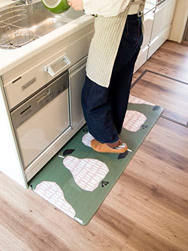 オカトー拭ける撥水キッチンマットインテリアマットナシ45×120cm8mm厚クッション