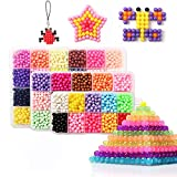 Water Fuse Beads Set 24 Colors 4800 Beads 5mm Creative Refill Magic Water Sticky Beads Art Crafts Toys for Kids Beginners (4800 Beads Complete Set)