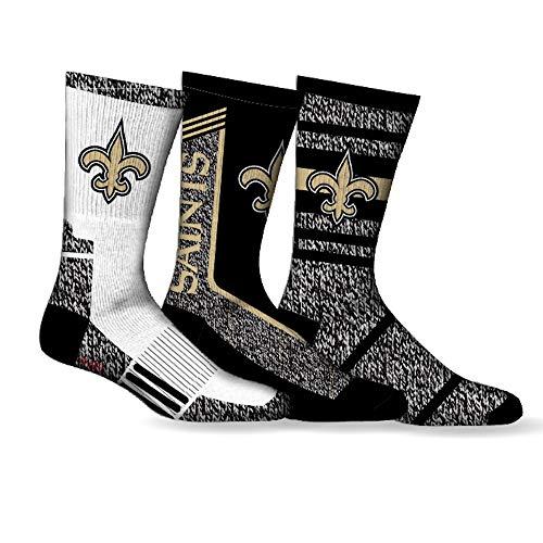 New Orleans Saints Fußballsocken, 3er-Pack, Crew-Länge, für Herrenschuhe, Größen 41-46