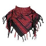 FREE SOLDIER Halstuch/Kopftuch Shemagh,100% Baumwolle Palituch Taktischer Schal Arabischer Wüsten Schals Unisex dreieckstuch,110 * 110cm,Schwarz Rot