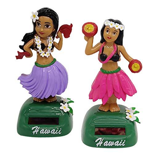 PETSOLA 2Pcs Solar Powered Tanzen Hawaii Mädchen Schaukel Figur Spielzeug Hause Auto Dekor