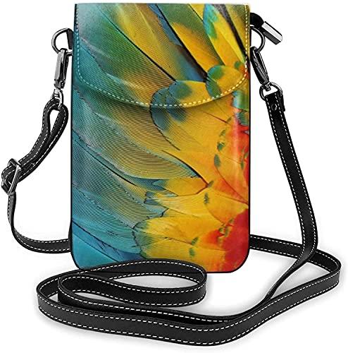 Wing of Scarlet Guacamayo - Bolso bandolera para teléfono celular, bolso cruzado para teléfono celular, monedero con correa para el hombro, bolso de mano de mano de cuero