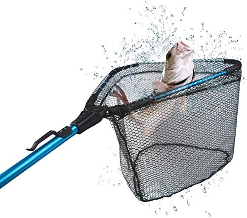 Leiouna Fishing Net Fish Landing Net, Foldable Collapsible Telescopic Pole Handle, Durable Nylon Material Mesh, Safe Fish Catching or Releasing