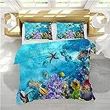Stillshine Ropa de Cama Juvenil 90 Juego de Funda nórdica Niña Creativo 3D Oceano Mundo Delfín Ballena Tortuga Medusa Coral Juego de Cama Funda nórdica 180 x 220