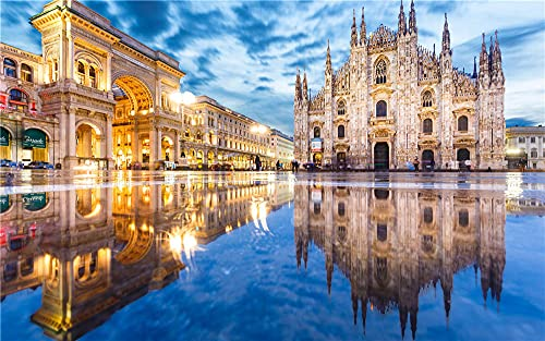 N\A Jigsaw Puzzles For Adults DIY Italy Duomo Milan Reflection Puddle Street Arch 1000 Piece Jigsaws For Kid Friend