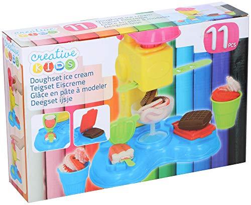 Warenhandel König Creative Kids Spielknete Knete-Set Eiscremebar Eismaschine EIS mit 3 Knet-Farben Schoko Erdbeer Vanille
