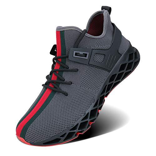 Wonesion Herren Fitness Laufschuhe Atmungsaktiv Rutschfeste Mode Sneaker Sportschuhe, ,, F-grau, 44 EU
