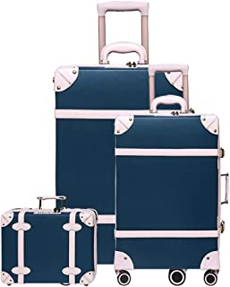 Uretravel vintage luggage set carry on cute suitcase with rolling spinner wheels Tsa lock luggage 3 pieces (Lake Blue, 14inch & 20inch & 28inch)