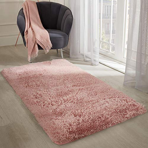 Sienna Fluffy Rug for Kids Bedroom Hallway Anti-Slip Carpet Shaggy Non-Shed Super Soft Faux Fur Floor Mat, Blush Pink, 80x150cm (2'6' x 4'9' ft)