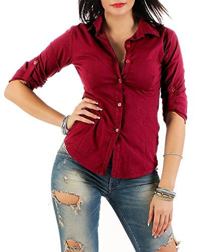 Mississhop 169 Damen Klassische Hemdbluse Business Hemd Casual Bluse Oberteil Top Tunika T-Shirt tailliert Unifarben Uni Weinrot S