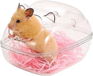 Licogel Mini Removable Corner Dwarf Small Animal Bath House Transparent Plastic Clear Mini Removable Hamster Sand Bath Con...
