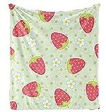 XZDPPTBLN Mantas de Franela Súper Suave de Lana Fresa Floral Verde Claro Mantas con Estampados Esponjosa y Cálida Mantas para la Cama y el Sofá 130cm x 150cm