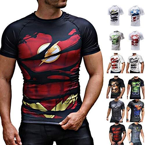 Khroom® Herren Funktionsshirt Kurzarm atmungsaktiv im Helden Design (Flash schwarz, XL)
