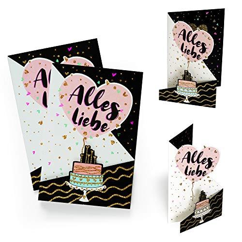 2er Set Geburtstagskarte mit Torte und Luftballons | Gutschein, Glückwunschkarte z. B. zu Geburtstag, Hochzeit etc., zum Aufstellen, mit Glitzer Gold, X026