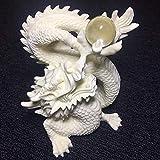 TANGIST Decoración única creativa escultura de dragón blanca tallada a mano con disco de juego de dragón, escultura para decoración del hogar, accesorios de sala de estar, decoración de loft