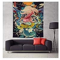タペストリー 日本神奈川波がbohoベッドカバーヨガマット毛布をハンギングタペストリークジラアロワナウォールハンギング印刷します (Color : 2, Size : 148x130cm)
