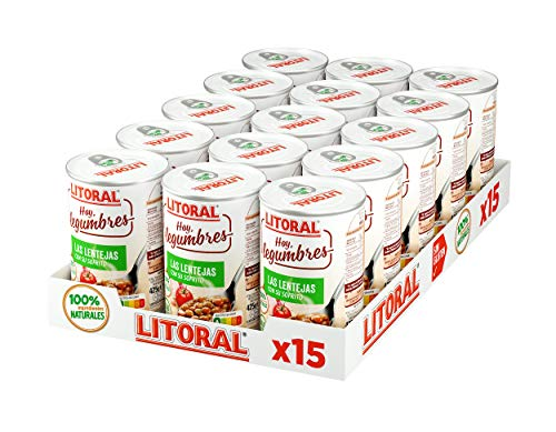 LITORAL Hoy Legumbres Lentejas con su sofrito - Plato Preparado de Legumbres Lentejas Sin Gluten - Packde 15x435g - Total: 6.52kg
