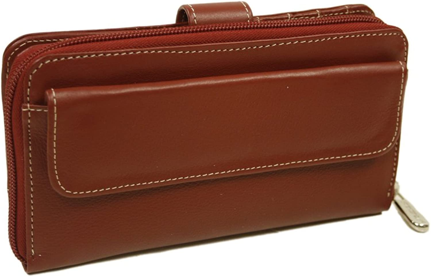 Piel Leather Ladies MultiCompartment Wallet, Red, One Size