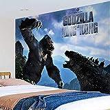 Godzilla vs Kong Tapiz de pared, póster de guerra de película King Kong Tema Art Tapiz de pared para fiesta, hogar, dormitorio, sala de estar, decoración de pared