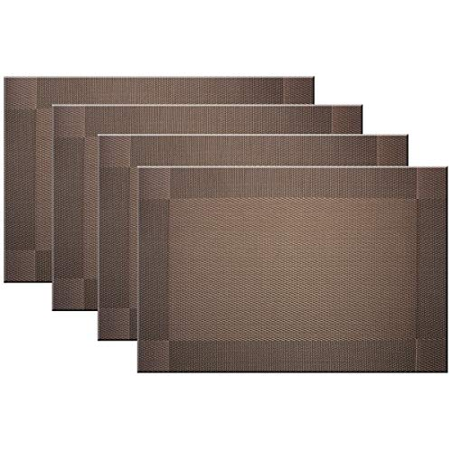 Bright Dream Placemats Washable Easy to Clean PVC Placemat for Kitchen Table Heat-resistand Woven Vinyl Table Mats 12x18 inches Set of 4 (Brown)