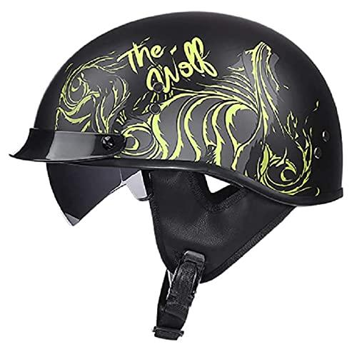 VERDELZ Brain-Cap Casco de Motocicleta Retro Half-Shell con Visera Gafas Protectoras UV Ciclomotor Abierto Jet para Mujeres y Hombres Oldtimer Vintage Electric Car Scooter Aprobación ECE